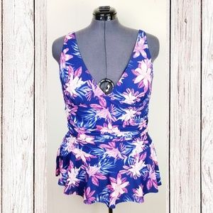 Retro Style Navy Floral Skirted Swimsuit